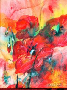 Papaveri, 25x35, dipinto ad olio. Costo €300,00