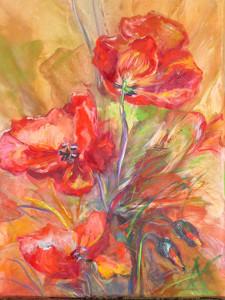 Papaveri, 35x50, dipinto ad olio.