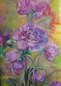 Peonie, 40x60, dipinto ad olio. Costo €400,00